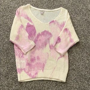 Sweater with purple floral design